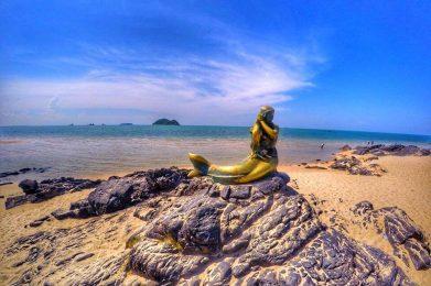 นางเงือก แหลมสมิหลา Golden Mermaid Sculpture Samila Beach